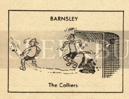 VINTAGE Football Print BARNSLEY - THE COLLIERS Miner PICK AXE Funny Cartoon